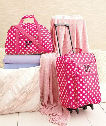 3 Pc Girls Kids LUGGAGE MONOGRAM ROLLING SUITCASE DUFFEL BAG