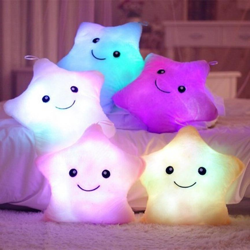 5 Colors Luminous Star Pillow Plush <font><b>Doll</b></font> moon Led For Christmas Gift