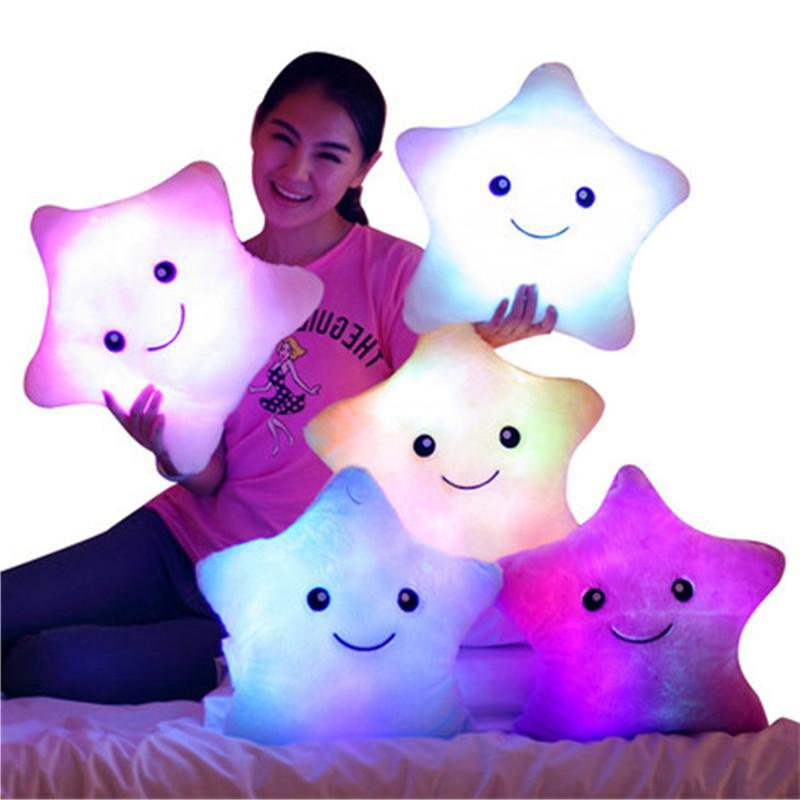 5 colors luminous pillow star cushion colorful