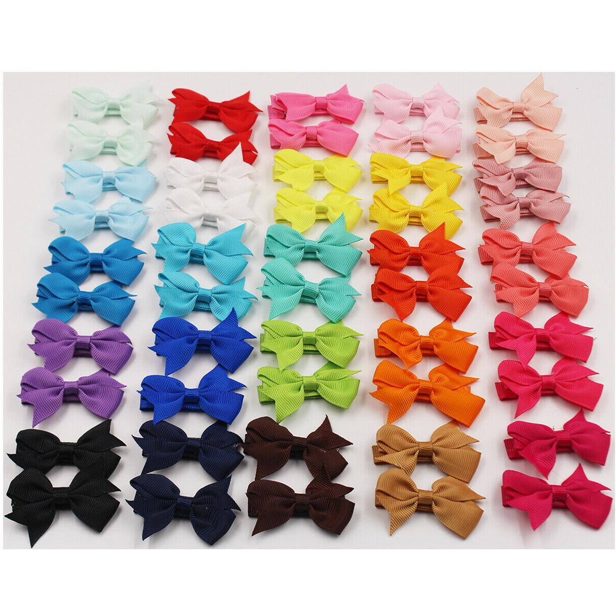 50Lot 2inch Tiny Ribbon Bows Alligator Hair Clips Fully Lined