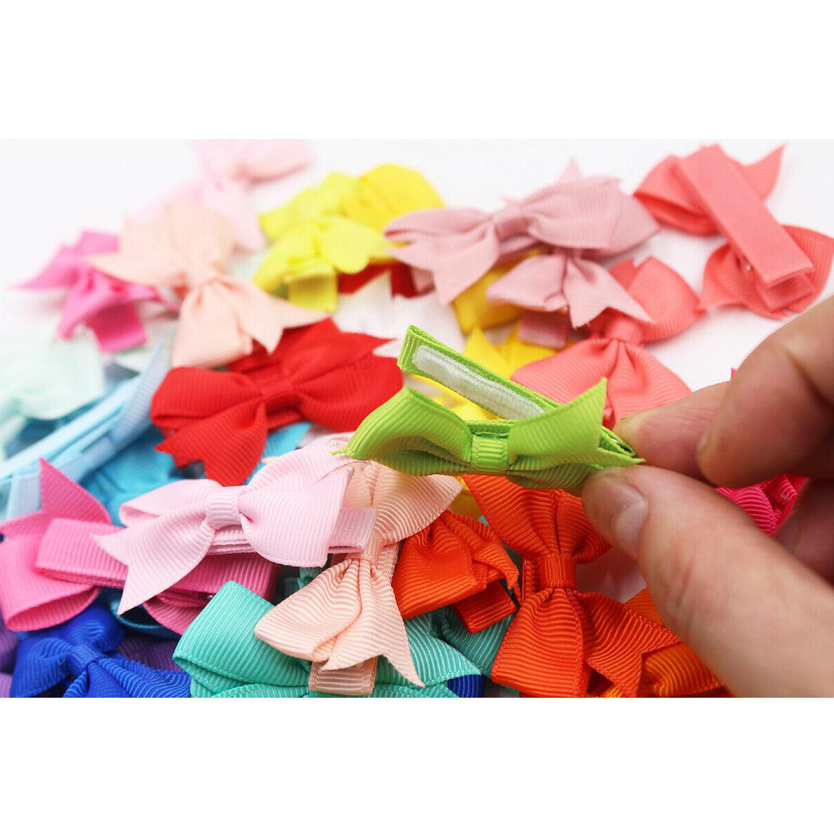 50Lot 2inch Ribbon Bows Hair Clips Fully Lined