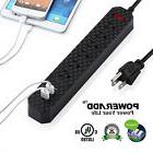 6ft 6 Outlet 3 USB Charging Port Power Strip With Surge Prot