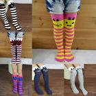 7 Colors Kids Girls Multi-Color Striped Cotton Long Socks Kn