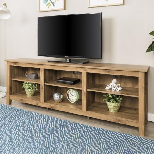 70 Inch Wide Barnwood Finish Television Stand