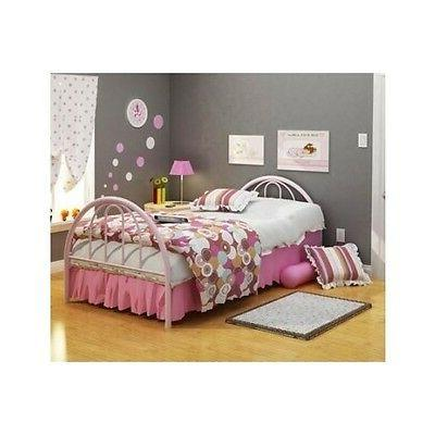Twin Bed Frame For Kids Girls Headboard Footboard Metal Pink