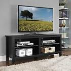 """WE 58"""" Wood TV Stand Storage Console, Black"""