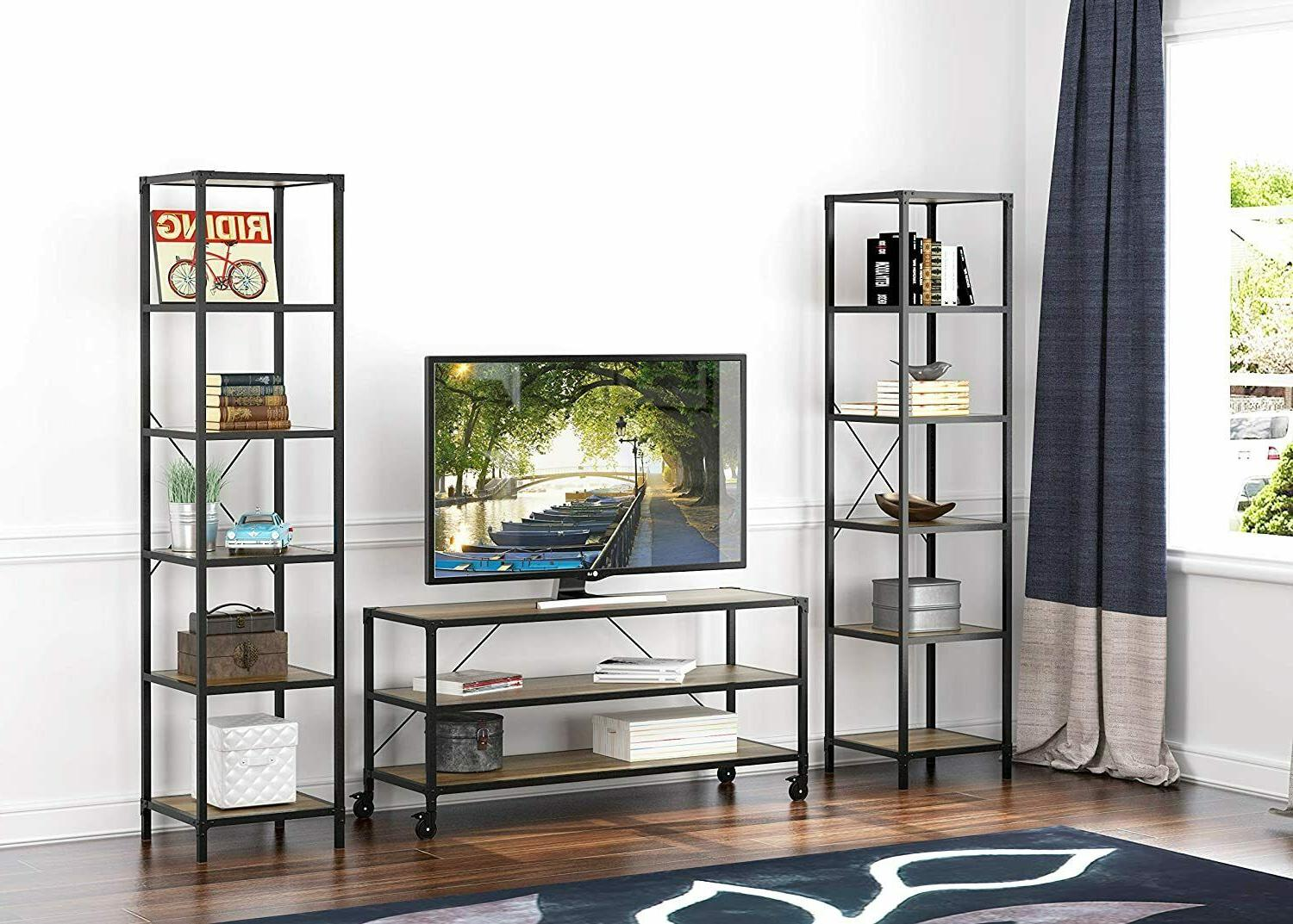 eHemco Antique TV Stand and Entertainment Center with Wheels