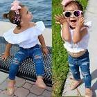 Baby Girls Kids Shirts Crop Top+Ripped Jeans Denim Pants Sum