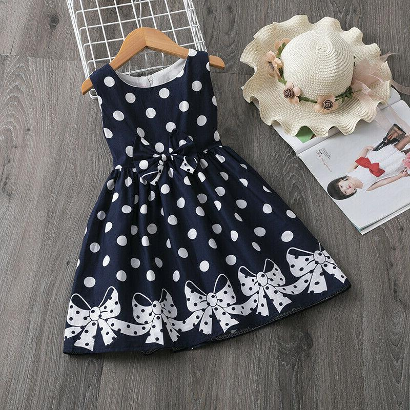 Baby Kids Dots Birthday Party Girl Summer Casual