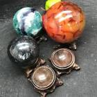 Black Branch Wood Display Stand Base For Crystal Ball Sphere