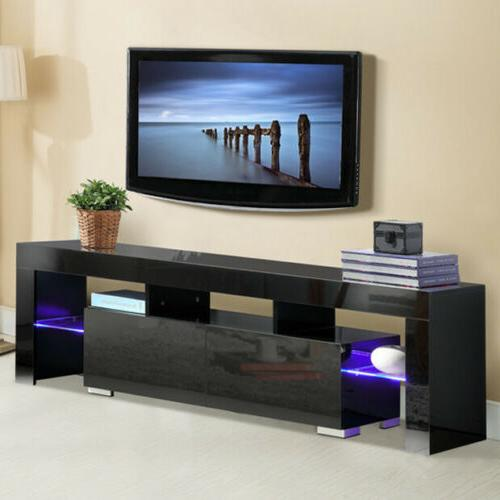 "63"" Wood High Gloss LED TV Stand Entertainment  Furniture Ce"