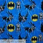 BonEful FABRIC FQ Cotton Quilt Blue Black BATMAN Yellow Symb