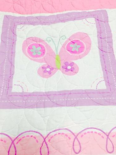 Cozy Home Fashions Butterfly Tulip Set, Flower Pattern Bedspread, Coverlet, 100 Cotton, Gifts for