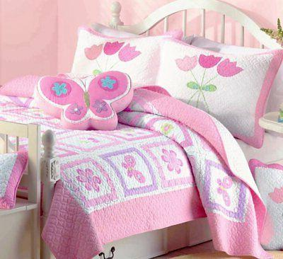 Cozy Line Butterfly Tulip Set, Orchid Green Pink Flower Coverlet, Gifts for