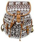 "16"" Womens Canvas Backpack Leather Trim Padded Strap Brown W"