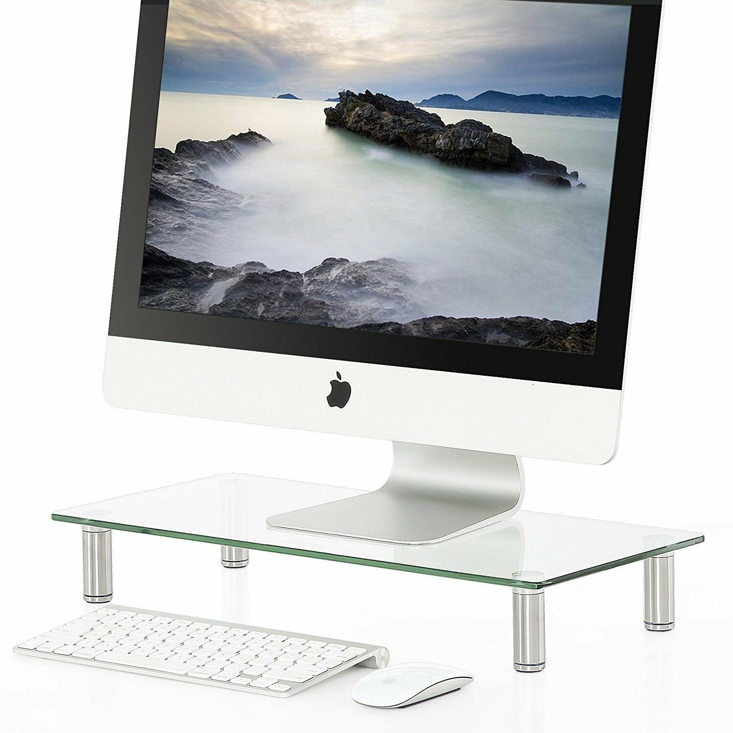 Fitueyes Clear Computer Monitor Riser Save Space Glass Lapto
