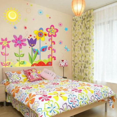Colors Flowers Removable Wall Sticker Decals Kids Girls Livi