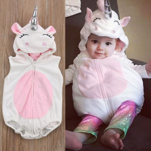 Cute 3D Unicorn Baby Costume Kids Girls Romper Jumpsuit Outf