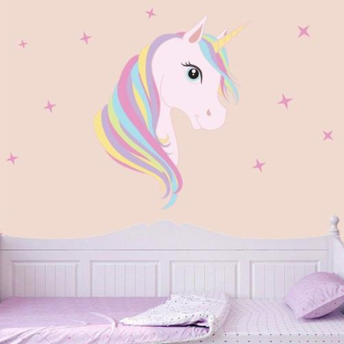 Cute Unicorn & Bling Stars Wall Decal Sticker Girls Kids Bed