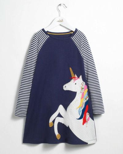 Cute Unicorn Toddler Baby Girls Party Stripes Long Sleeve Dress Clothes US