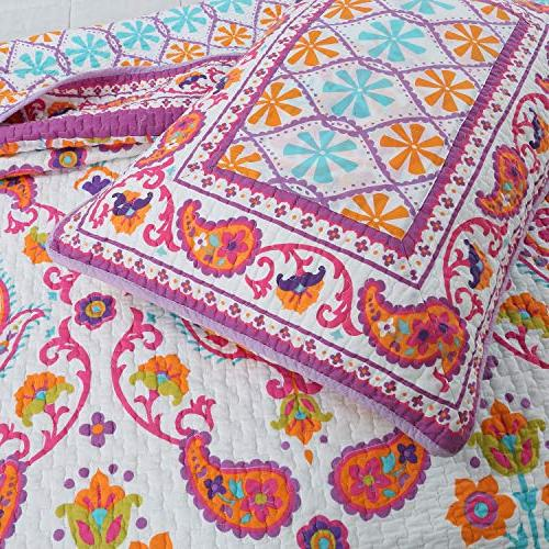Cozy Line Home Cynthia Bedding Set, Pink Orange Flower Floral Cotton Coverlet Bedspread, Gifts