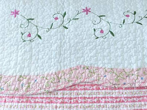 Cozy Line Home Fashions Set, Pink White Floral Patchwork 100% Cotton Bedspread, Gifts Kids Girl Women