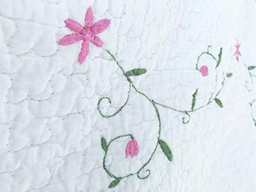Cozy Fashions Daisy Set, Pink White Flower Floral Real 100% Bedspread, Gifts Girl