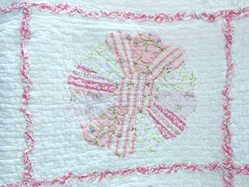 Cozy Line Daisy Field Floral Embroidered 100% Reversible Bedspread, Girl Women