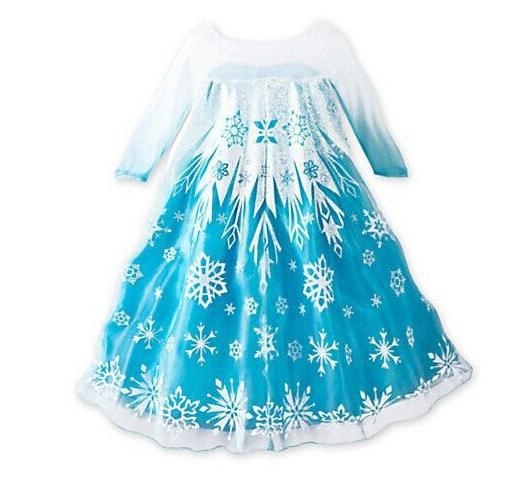 Disney Kids Elsa Queen ice princess Costume Snow Dress