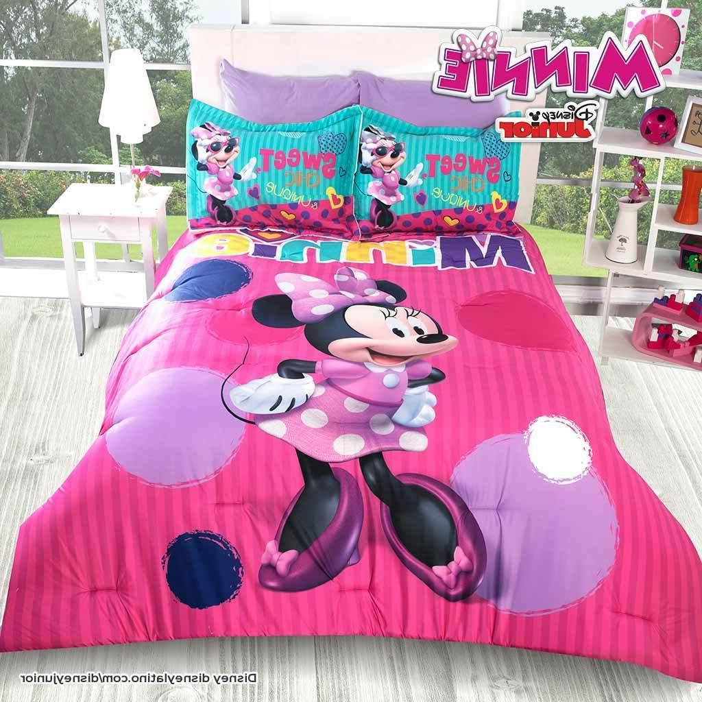 Disney Minnie Mouse Fashion Pink Purple Comforter Set New Gi
