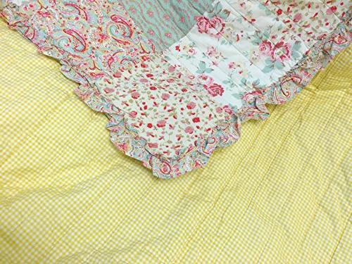 Cozy Home Dreamy Rose Bedding Set, Chic Lace Real Patchwork 100% Cotton Coverlet, Bedspread, Girls