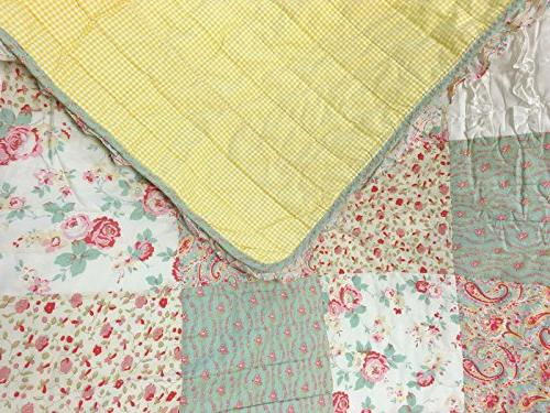 Cozy Fashions Dreamy Bedding Set, Chic Patchwork 100% Cotton Coverlet, Gifts for Girls