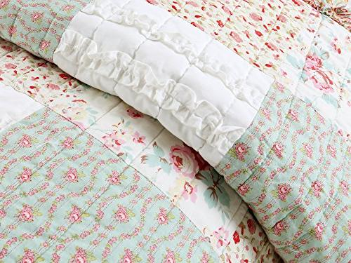 Cozy Home Dreamy Set, Coral Tiffany Shabby Chic Floral Patchwork 100% Coverlet, Bedspread, for Girls
