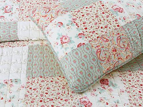 Cozy Fashions Dreamy Rose Bedding Quilt Set, Coral Tiffany Shabby Chic Lace Floral Real Patchwork 100% Cotton Coverlet, Girls