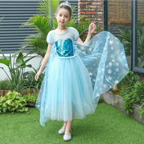 elsa princess kids costume party cosplay outfit