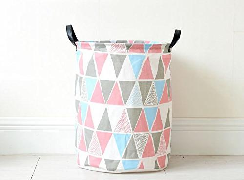 Pauwer Nursery Canvas Basket with Waterproof Large Storage Laundry for Girls Office, Toys