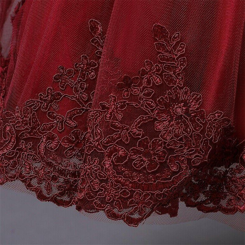 Flower Girl Lace Princess Bow Wedding Party Dresses