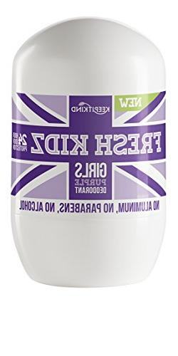 "Fresh Kidz Girls ""Purple"" Natural Roll on Deodorant 1.86 Fl"