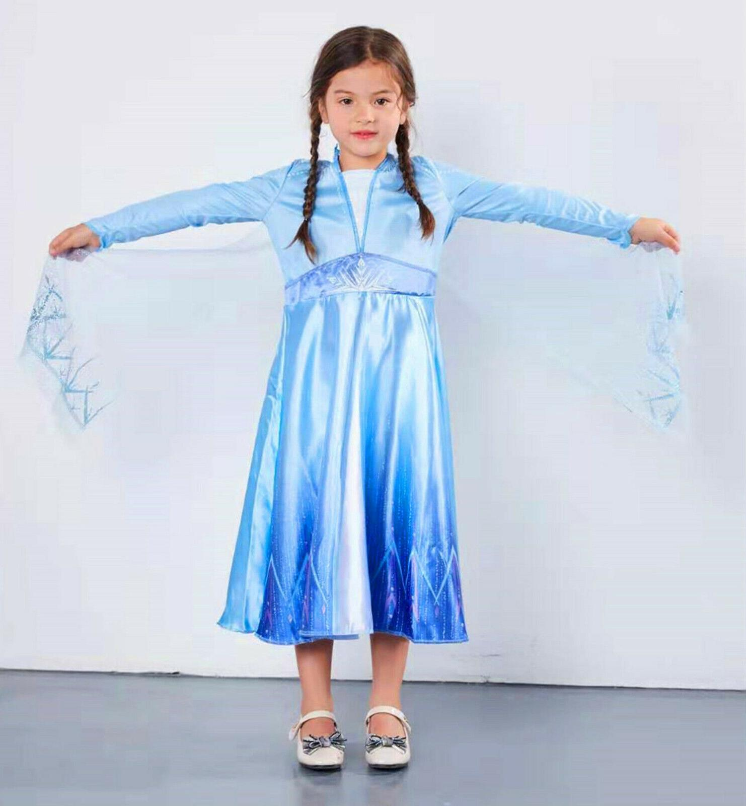 Princess Elsa Kids Girls Fancy Dress Costume Cosplay Birthda