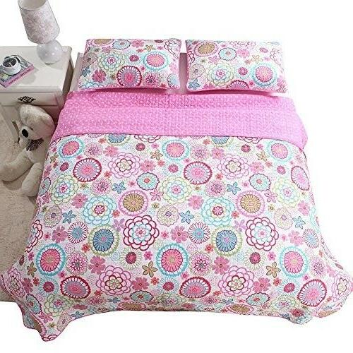 Full Floral Flower Pink Piece Girl Reversible New