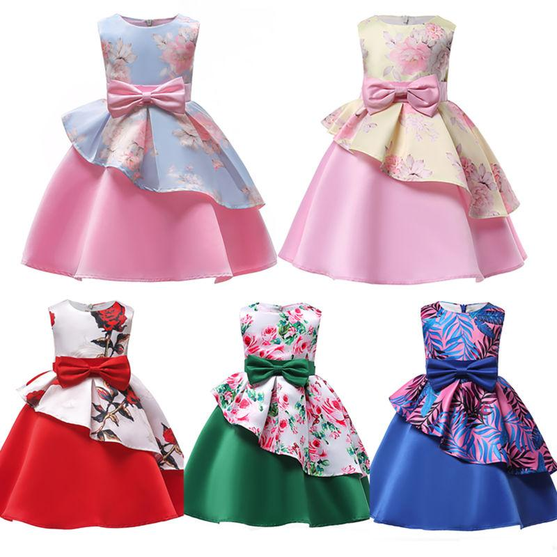 Girls Ball Gown Dress Wedding Bridesmaid Party Prom for