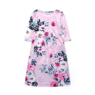 Girls Floral Dress Kid Baby Party Princess Dresses