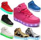 Girls Boys USB 7 LED Light Up Shoes Kids Child High Top Lumi