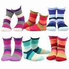 TeeHee Kids Girls Crew Basic Roll Top Socks 6 Pair Pack Indi