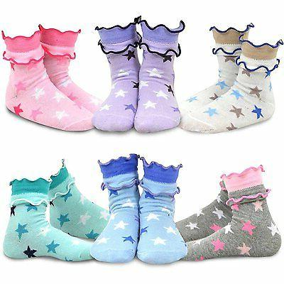TeeHee Kids Girls Crew Overlock Soft Top Ruffle Socks 6 Pair