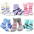 TeeHee Kids Girls Crew Ruffle Top Socks 6 Pair Pack Striped