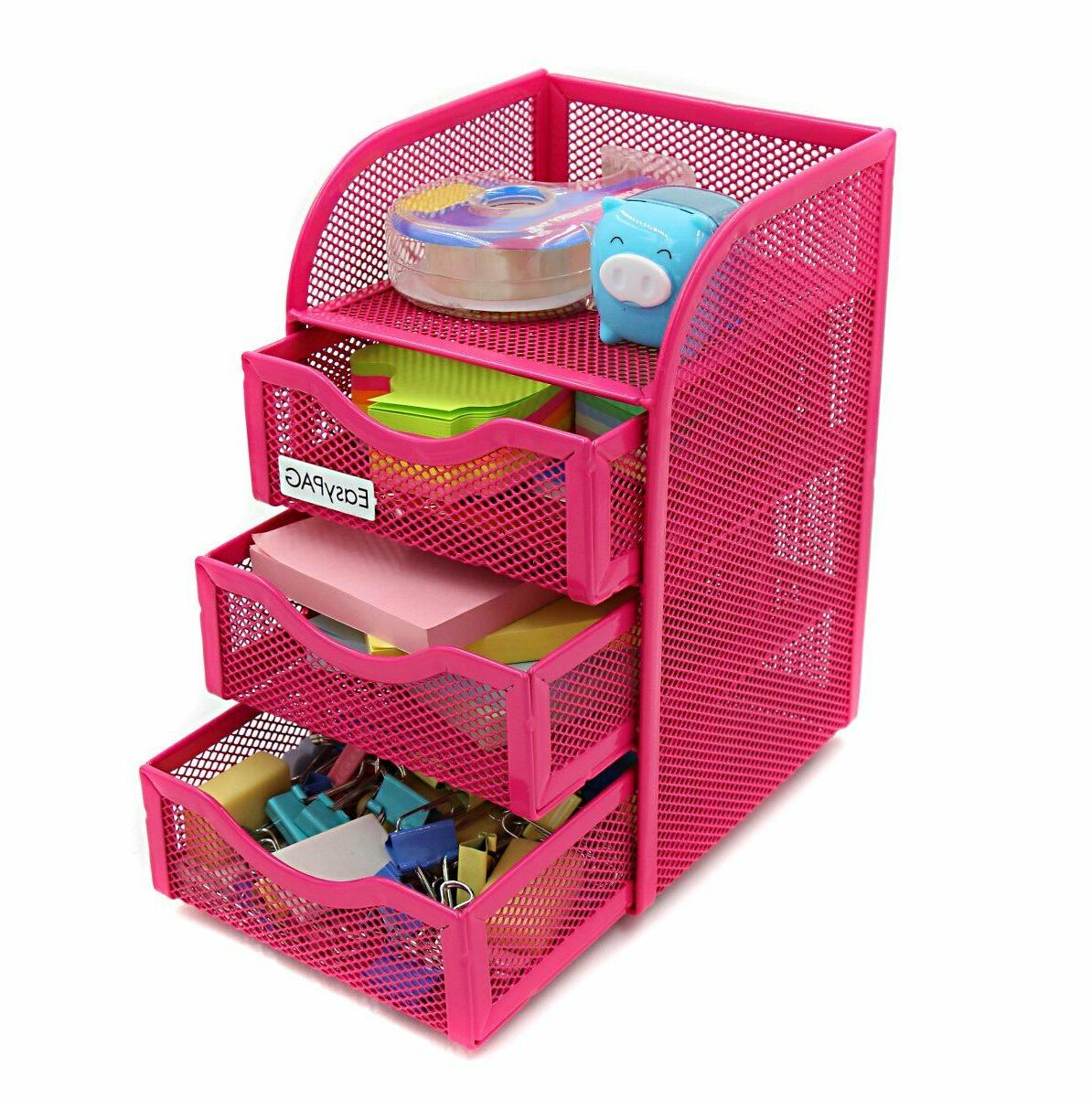 Girls Desk Drawers Pink Office For Kids Wire Mesh