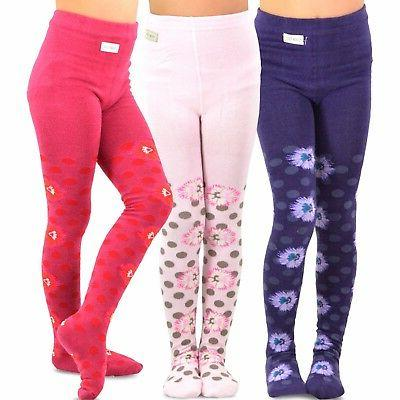 girls fashion cotton tights 3 pair pack