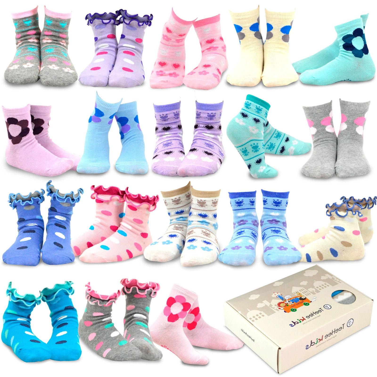 TeeHee Kids Girls Fashion Fun Crew 18 Pair Pack Gift Box  Cu