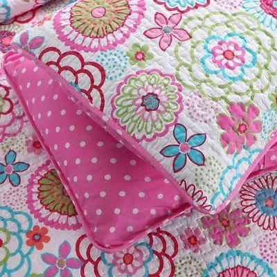 PINK BLUE Full / Queen SET BRIGHT FLORAL